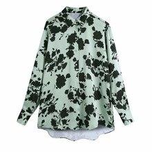 女性の花のプリントルースサテンブラウス女性ターンダウン襟長袖シャツカジュアルレディースブラウストップスblusas S8316