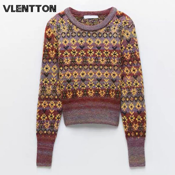 Autumn Winter Vintage Jacquard Knitted Sweater Women Fashion O-Neck Long Sleeve Short Christmas Pullovers Female Casual Tops vintage cartoon knitted loose autumn winter sweaters women 2020 casual pullovers sweater oversize o neck long sleeve ladies tops