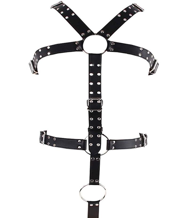 ZhenZhen Mens Leather Harness Body Chest Belt Gay Interest Buckles Clubwear Costume Size Adjustable
