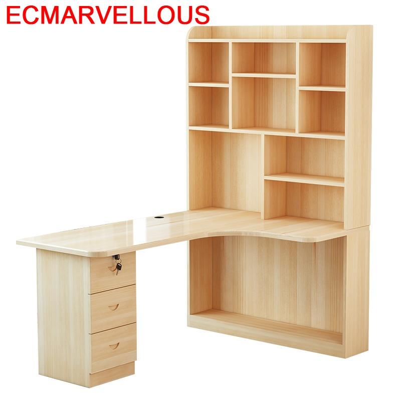 Mueble Bed Office Escritorio Tisch Bureau Meuble Para Notebook Biurko Retro Wooden Desk Stand Mesa Laptop Table With Bookcase