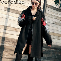 Vefadisa Autumn Casual Cotton Print Sequins Decoration Coat Loose Zipper Hooded Coat Long Wide waisted Woman Coat 2019 QYF356