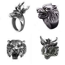 Punk Style Personality Simple Ring Stainless Steel Animal Ring Rock Hip Hop Sheep Head Ring Fashion Holiday Gift Jewelry(China)