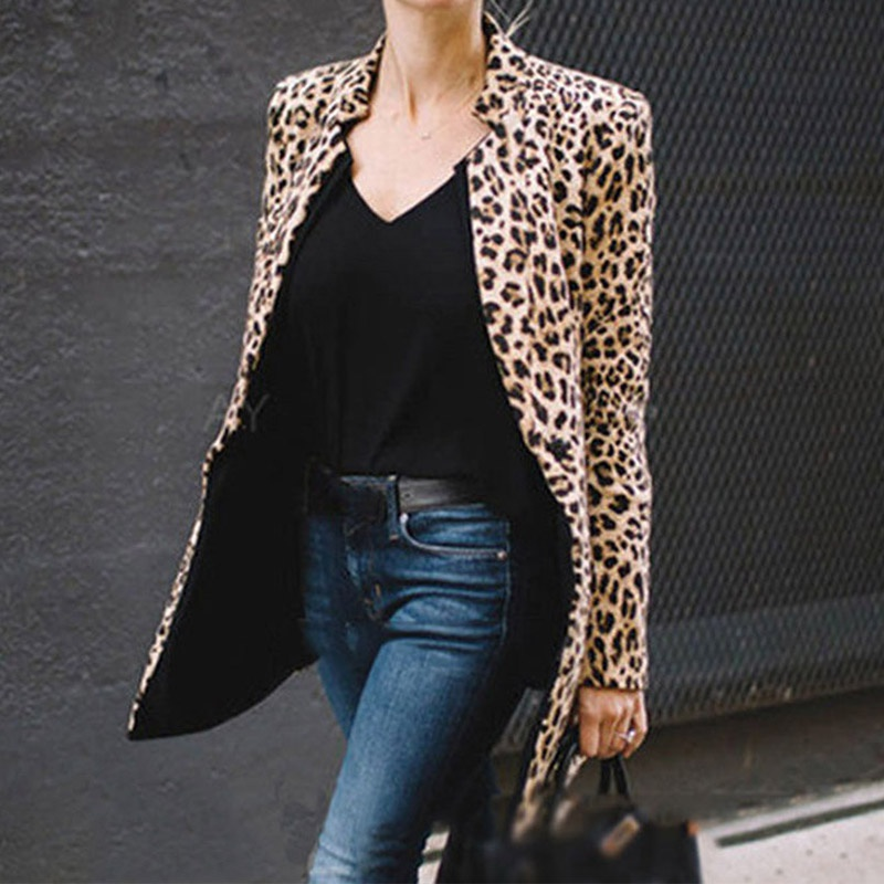 MM Fashion Women Blazers Stand Collar Long-sleeved Leopard Print Loose Blazers Office Lady New Slim-fit Blazers