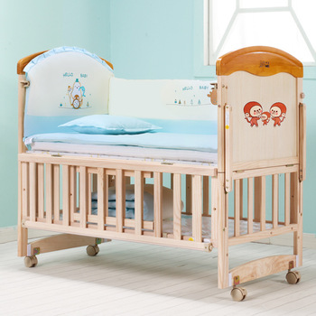 Wood Baby Bed Kids Bed with Shelf Extended Baby Crib 3 Grade Height Adjust Baby Cot Can Combine with Adult Bed Pine Baby Bed luxury pine solid wood logs baby crib adjustable 3 in 1 stitching multifunctional storage cradle baby bed with guardrail for kid