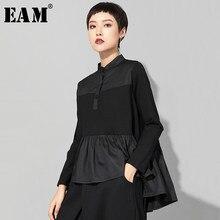 [EAM] 2021 nowa wiosna jesień stanąć kołnierz z długim rękawem czarny luźna lamówka plisowana ściegu nieregularna koszulka kobiety moda fala JQ016