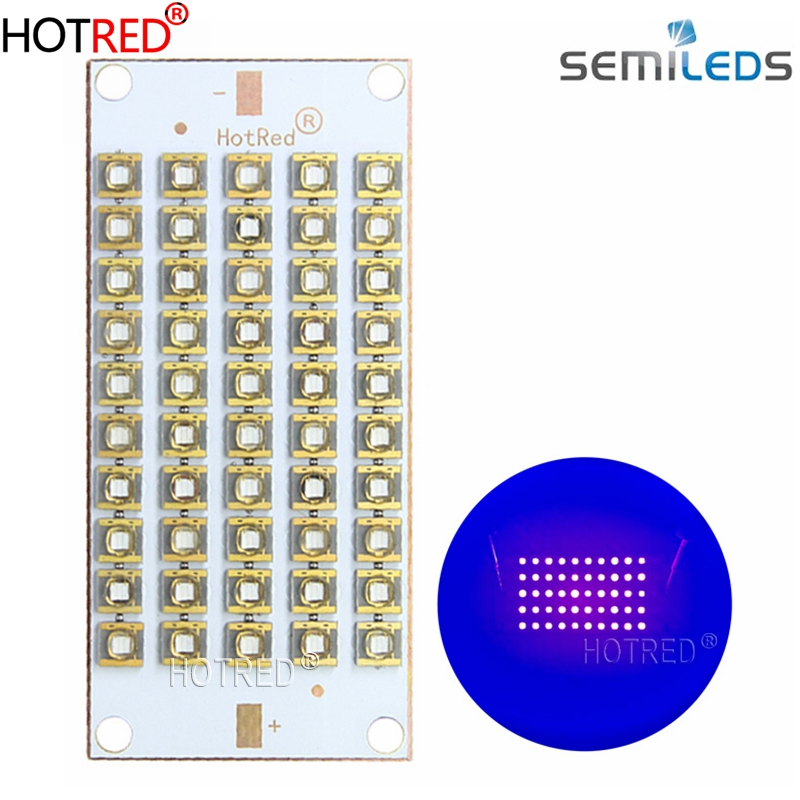UV Purple USA Semileds LED Chips Lamp 50W100W150W300W 395nm 405nm 420nm 55*25mm Copper Board For 3D Printer Flatbed Curing Light
