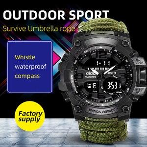 Image 1 - Addies Military Watch con Bussola Uomini Tendono Impermeabile Whistel Cronometro Sveglia Sport orologio Digitale Orologio Da Polso montre homme