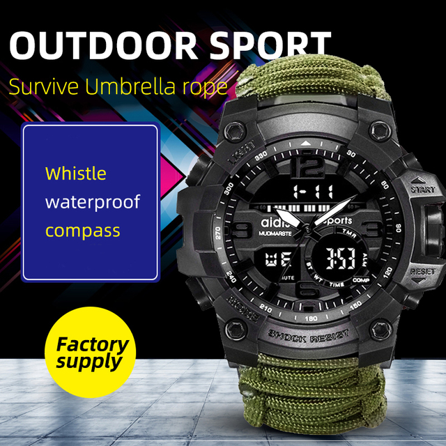 Addies Military Watch con Bussola Uomini Tendono Impermeabile Whistel Cronometro Sveglia Sport orologio Digitale Orologio Da Polso montre homme