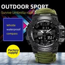 Addies zegarek wojskowy z kompasem mężczyźni mają wodoodporny gwizdek Alarm stoper zegar Sport cyfrowy nadgarstek zegarek montre homme
