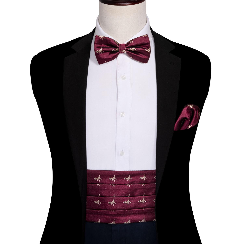 Men Dinosaur Cummerbund Red Silk Bowtie Handkerchief Cufflinks Set Wedding Bows Waistband For Men Tuxedo Suit Barry.Wang YF-1008