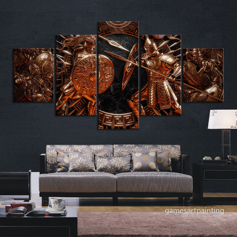 5pcs Game Art Canvas Painting Total War Saga Troy Pictures Decorative Paintings for Home Decor,Unframed image