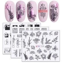 1 шт черно-белые наклейки с цветами для ногтей зеленые листья водная наклейка слайдер для дизайна ногтей Обертывания маникюрный Декор тату LABN1213-1224-1