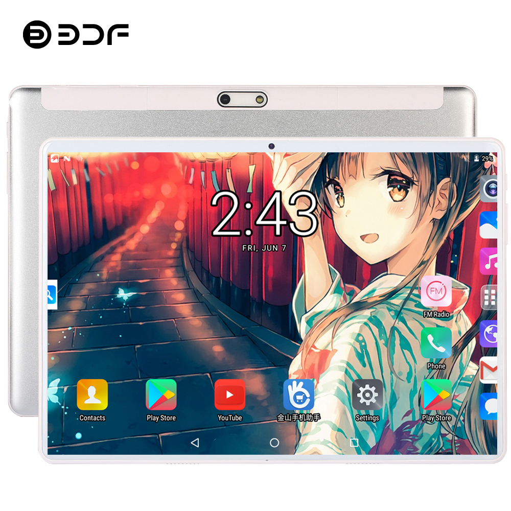 BDF Tablet 10 Inch 3G/4G LTE Phone Dual SIM Tablet Pc Android 9.0 Google Play 10/Ten Core 8GB/128GB Tab 1280*800 IPS Tablet 10.1
