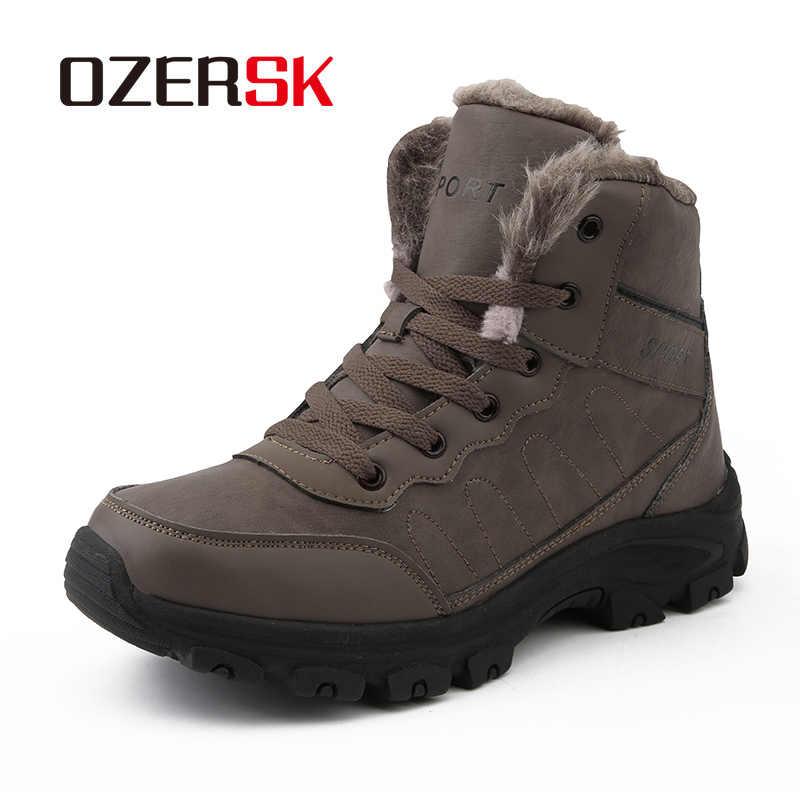 OZERSK/Лидер продаж брендовые зимние мужские Ботильоны кожаная обувь теплые
