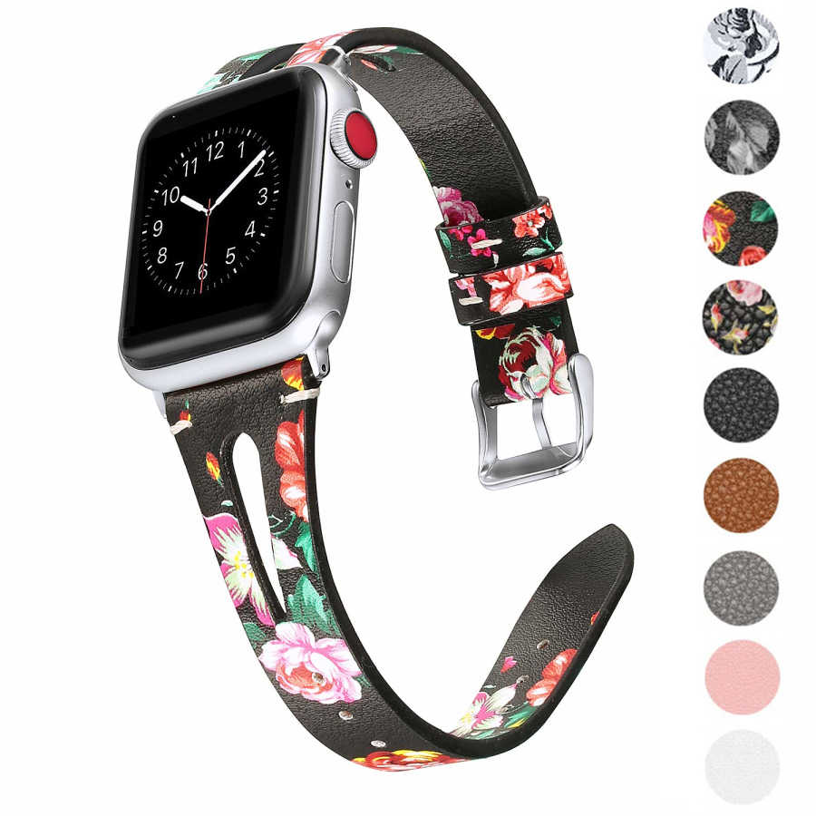 עבור אפל שעון סדרת 5 4 3 2 פרח פרחוני מודפס רצועת עור צמיד רצועת עבור iWatch 4 38mm 42mm 40mm 44mm יד חגורה