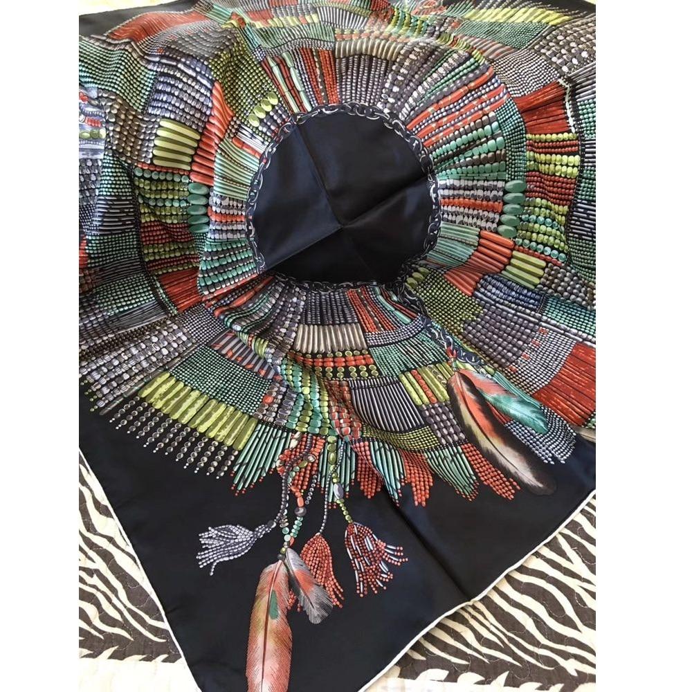 Women Head Scarves Fashion Tassels Print 100% Silk Scarf Shawl Square 35