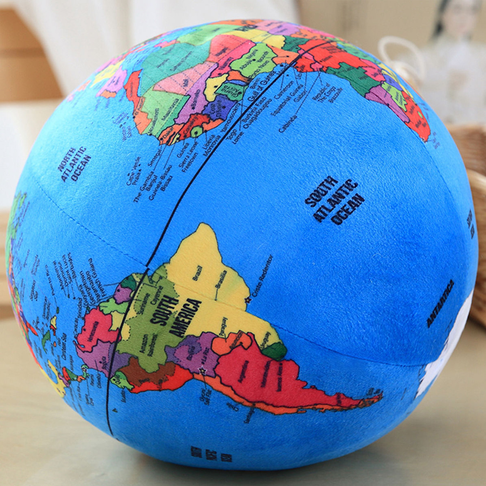 3D Educational Super Soft Stuffed Imprinted Worldmap Earth Shaped Globe Doll Throw Pillow For Children Early-learing And Play