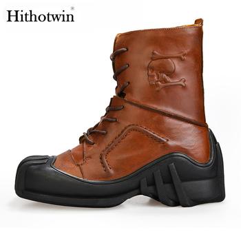 Buty czaszki buty motocyklowe męskie buty narzędziowe czaszki buty wojskowe krótkie buty buty motocyklowe skóra bydlęca Martin buty tanie i dobre opinie hithotwin Skórzane Połowy łydki Plus size Mężczyźni Wear-resistant Black brown head Floor Cowhide mid heel 3-5cm Round head