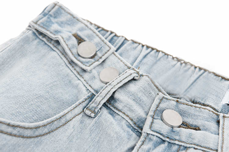 Женские джинсы EAM, светло-синие свободные брюки с высокой талией на кнопках, 2020 1S256