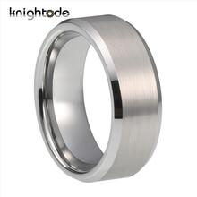 남성 여성 커플 약혼 반지에 대 한 6mm 8mm 은빛 텅스텐 카바 이드 웨딩 밴드 Beveled 가장자리 닦 았 마침 컴포트 맞는
