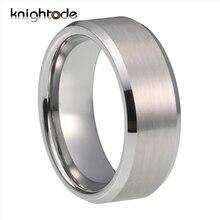 6mm 8mm gümüş Tungsten karbür düğün bantları erkekler kadınlar için çift nişan yüzüğü eğimli kenarları fırçalanmış Finish konfor fit