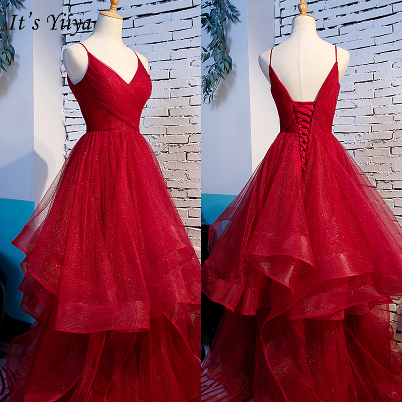 It's Yiiya Evening Dress Burgundy 2019 Spaghetti Strap Princess Ball Gown Sleeveless V-Neck Elegant Lace Up Robe De Soiree E1004
