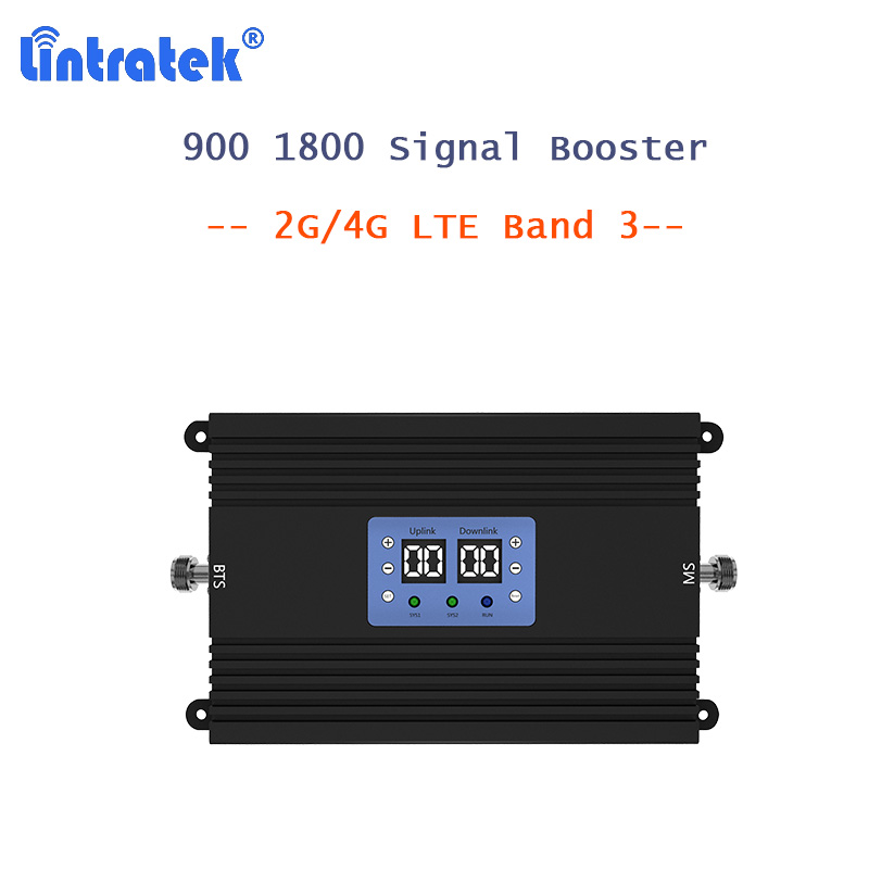 Lintratek 900 1800 Mobile Cellular Signal Booster LTE 4G Amplifier 2G GSM 900 80dB High Gain MGC AGC 25dBm B3 Repeater Only S2