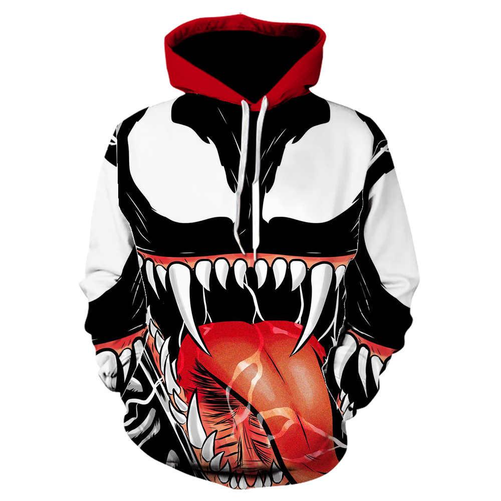 2019 NEW Venom 3D 프린트 까마귀 남성 캐주얼 스웨터 긴 소매 블랙 후드 남성 탑 마블 겨울 자켓 남성 moletom