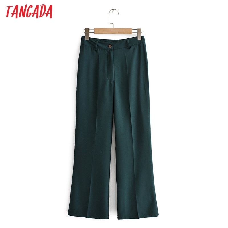 Tangada Fashion Women Solid Suit Pants Trousers Pockets Buttons 2019 Office Lady Ankle Length Pants Pantalon QJ144