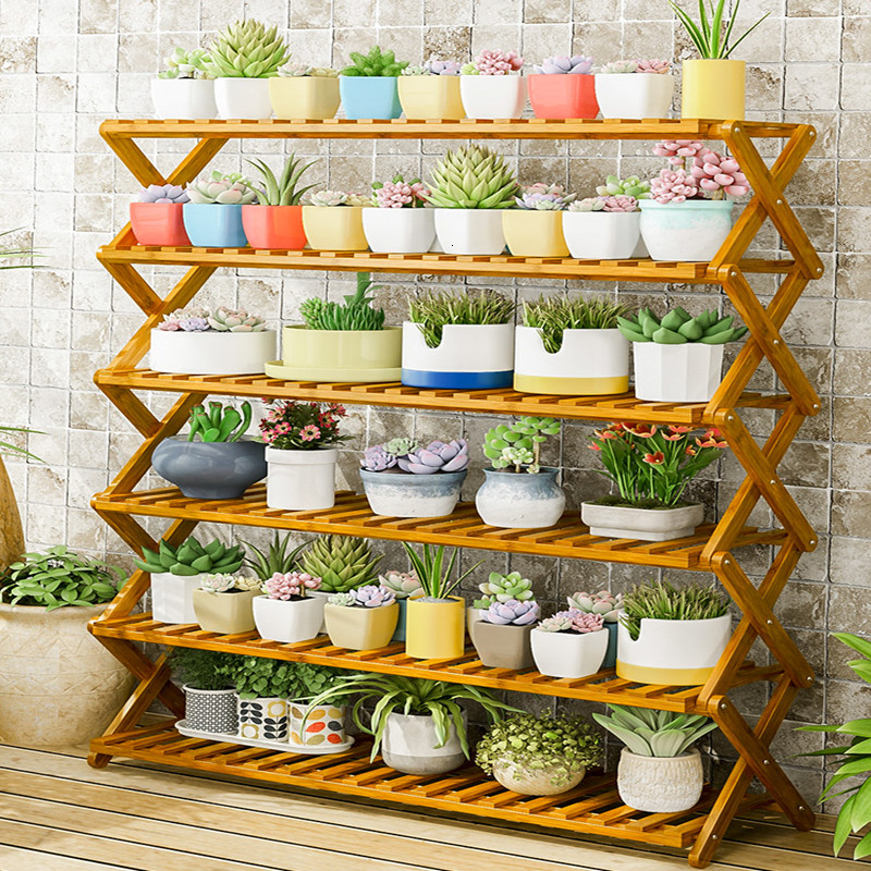 Household Chamber Green Radish Meat Solid Wood  Within Fold Shelf Balcony Flowerpot Frame