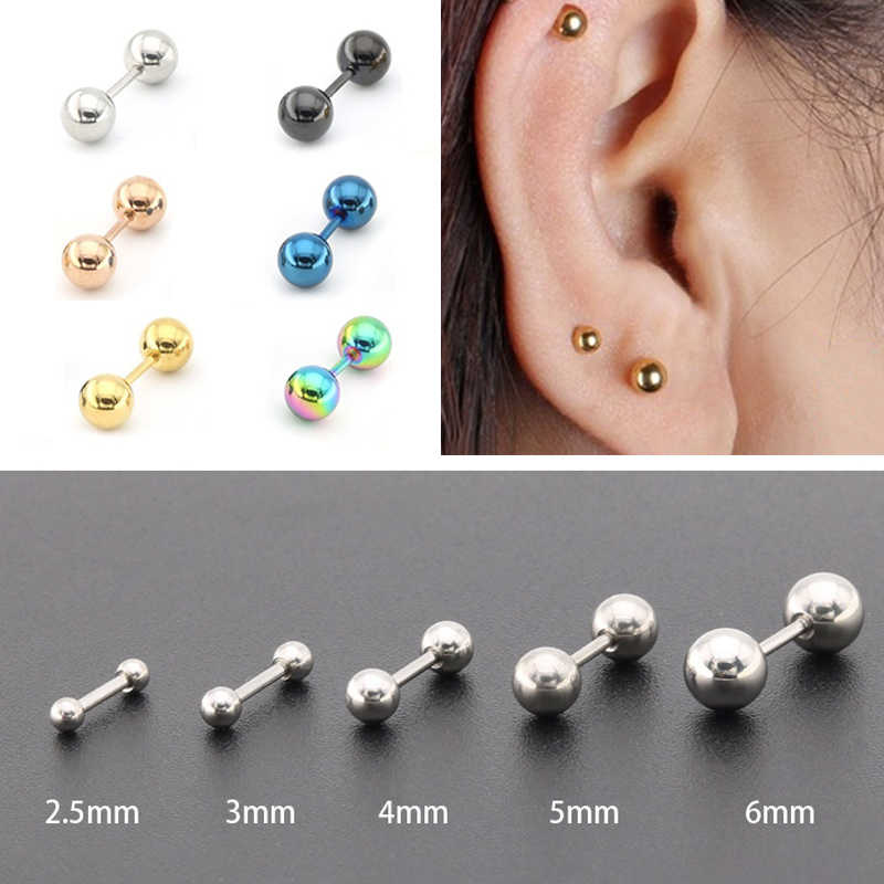 16G Barbell Stud Earrings Cartilage Helix Ear Piercing 5mm Ball 6mm Length Surgical Stainless