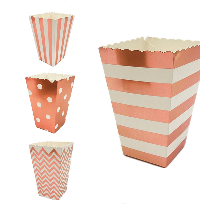 6pcs/pack Birthday Party Decorations Gift Bag Kids Popcorn Boxes Rose Gold Bronzing Stripe Pop Corn Box Wedding Valentine's Gift