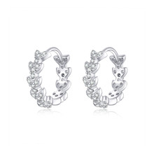 BISAER Stud Earrings Plant Leaves Shiny Genuine 925 Sterling Silver Jewelry For Women Cubic Zircon Summer High Quality HVE150 new fashion high quality super shiny zircon 925 sterling silver stud earring for women jewelry wholesale gift oorbellen