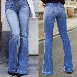 Alargamento do falso calças de brim das mulheres finas do vintage denim senhoras cintura alta estiramento bolso calças 2020 tamanho perna larga jeans