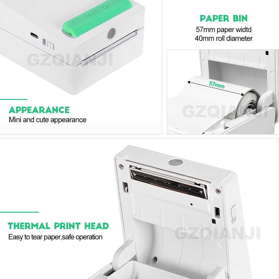 Mini impressora térmica portátil de bluetooth 58mm mini sem fio pos impressora de fotos de imagem térmica para android ios telefone móvel
