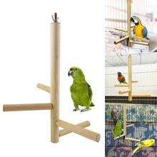 Pet Bird Parrot Wooden Rotating Bar Stand Hanging 4 Stairs Ladder Cage Chew Toy nice(China)