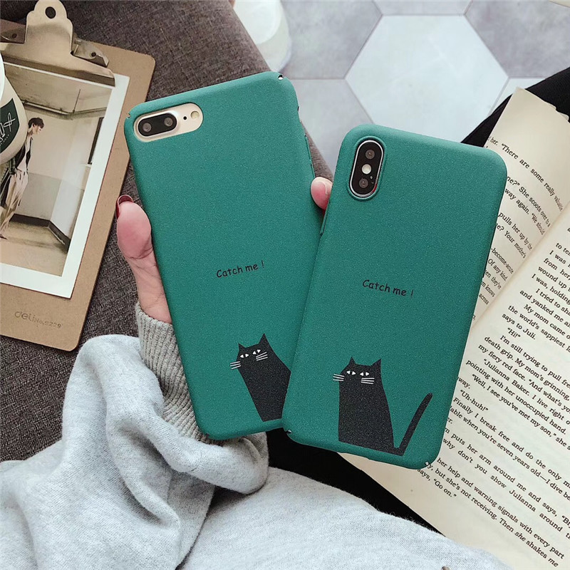 Korean simple green funny cat <font><b>Phone</b></font> Case For coque iphone X XS XR 6 6s 7 8 Plus Kawaii Cases Cute <font><b>bts</b></font> hard matte <font><b>Cover</b></font> Fundas image