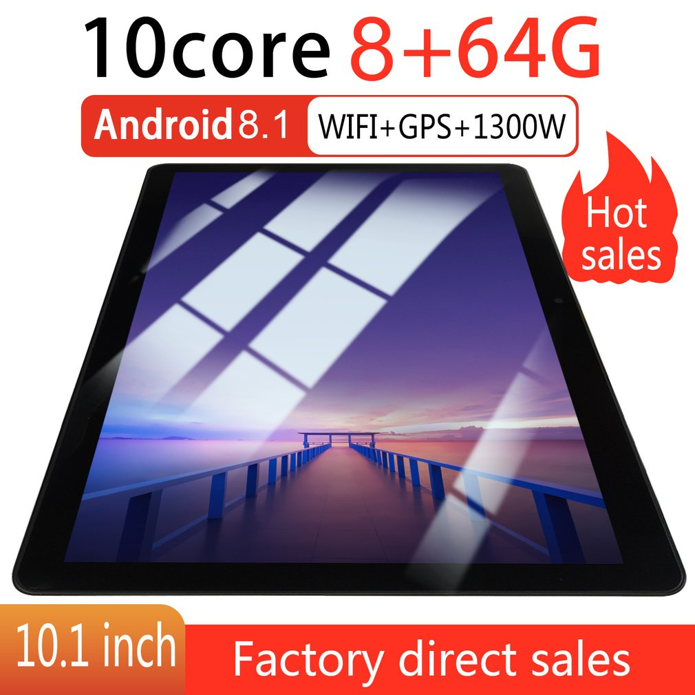 KT107 Round Hole Tablet 10.1 Inch HD Large Screen Android 8.10 Version Fashion Portable Tablet 8G+64G Black Tablet Black US Plug