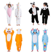 Boys Girls Kigurumi Pajama Sets Panda Unicorn Pajamas For Children Pijimas Animal Sleepwear Winter Warm Pyjamas Kids(China)