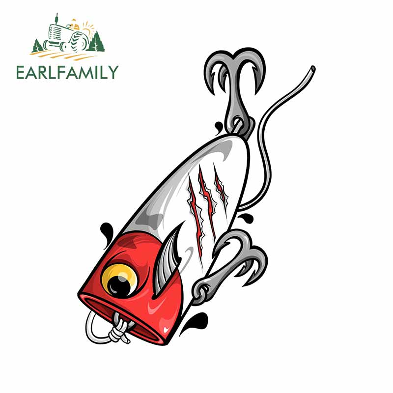 EARLFAMILY 13cm x 10.3cm for Fishing Lure Car Sticker Waterproof Anime Graphics Vinyl Car Wrap Bumper Decal for Vehicle JDM