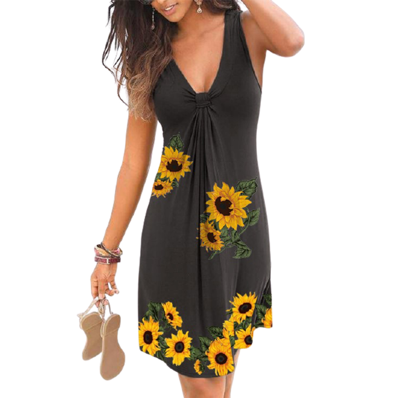 Women's Deep V Neck Loose Cold Shoulder Casual Beach Dress Summer Sunflower Printed Bohemia Party Dresses Plus Size Clothing