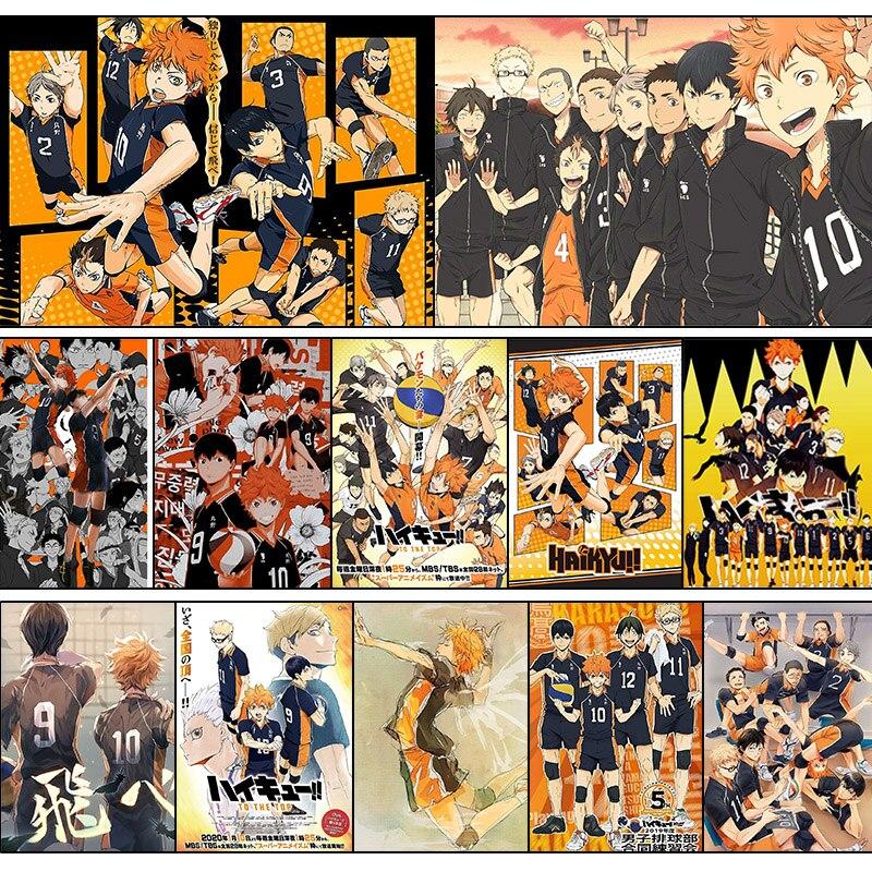 Anime haikyuu poster decoração adesivo de parede haikyuu anime voleibol do ensino médio junior parede poster foto adesivo decoração para casa