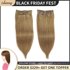 Isheeny Clip in Human Hair 8pcs/set Seamless Natural Blonde Hair Remy Clip Extensions Full Head Brazilian Pure Color Clip Ins