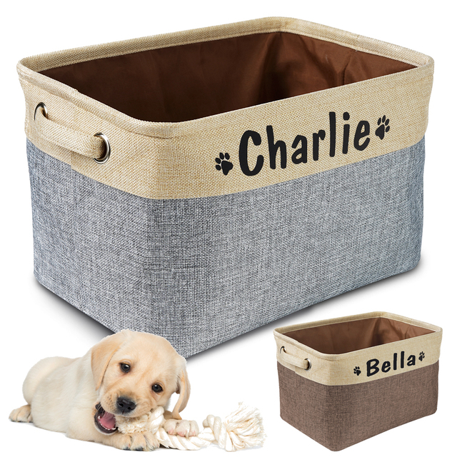 Personalized Pet Dog Toy Storage Basket Dog Canvas Bag Foldable Pet Toys Linen Storage Box Bins Dog Accessories Pet Supplies- 1