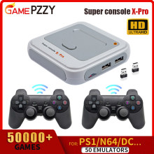 Super Console X-PRO TV Game Retro Video Game Console With Wireless Controllers Built-in 50 Emulators 50000 Games For PS1/N64/DC