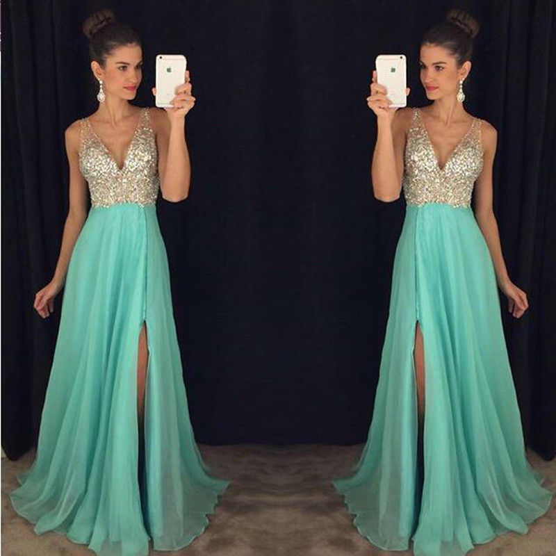 2018 New Women Sexy Deep V-neck Long Dress Formal Wedding Bridesmaid Long Party Ball Prom Sequins Split Tulle Dresses