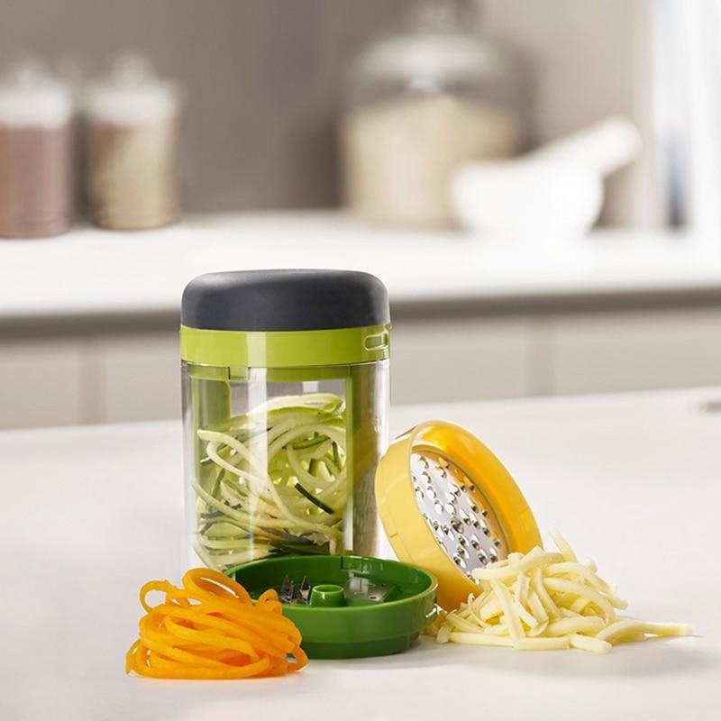 3 In 1 Spiral Rotating Cut Silk Cup Garlic Press Vegetable Grater Home Kitchen Tool Accessories Chopper Cutter Gadget