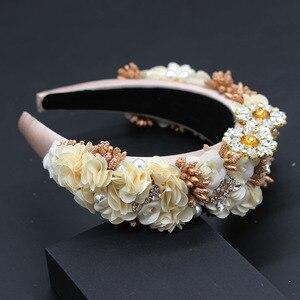 Image 5 - Ladies Fashionable Hair Band Baroque fashion temperament sponge rhinestone fabric flower wild headband 686