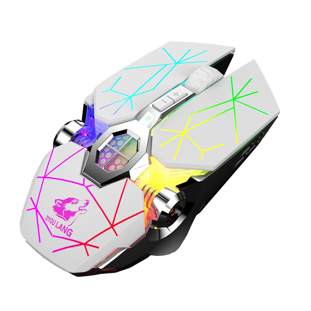 Wireless Rechargeable Game Mouse Mute Liquid-cooled Shining Mechanical Mice Mouse 2.4GHz Ergonomic Mice For Laptop PC Mouse#T2 4