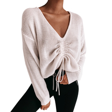 2019 Women's Jumper Suit Winter Casual White Long Sleeve Jumper V Neck Sweaters Blouse Tops Knit Sweater Women v neck zipper choker jumper